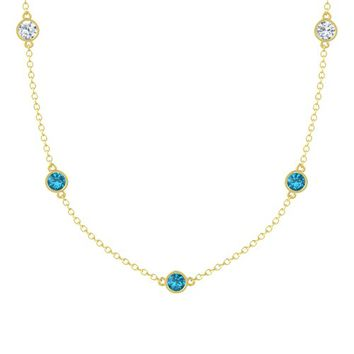 Round London Blue Topaz 14K Yellow Gold Pendant with London Blue Topaz & Diamond