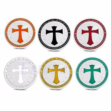 Knights Templar Silver Plated Europe Cross Souvenir Coin Art Collections BLACK A46289