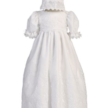 Embroidered Organza Girls Christening Gown w. Venice Lace 0-18m