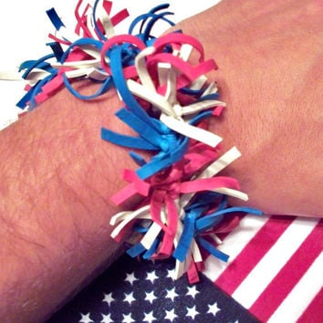 Fourth of July Fireworks Bracelet Made Out of Rubber Bands - Red, White and Blue, Patriotic