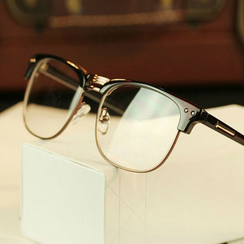 ANEWISH Fashion Metal Half Frame Glasses Frame Retro Woman Men Reading Glass UV Protection Clear Lens Computer Eyewear Eyeglass