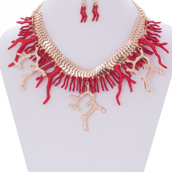 Summer Coral Reefs Necklace and Earrings Set