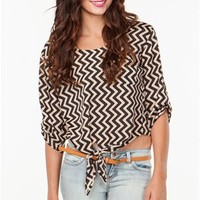 A'GACI Chevron Stripe Tie Front Blouse - New Arrivals