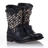 Womens Tokyo Boot Black Leather/Antique Studs 312215