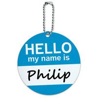 Philip Hello My Name Is Round ID Card Luggage Tag
