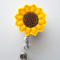 Sunflower  - Retractable ID Felt Badge Holder - Name Badge Holder - Cute Badge Reel - Nursing Badge - Felt Badge Reel
