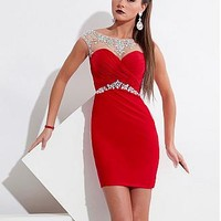 Buy discount Charming Chiffon & Tulle Bateau Neckline Short Sheath Homecoming Dress at Dressilyme.com