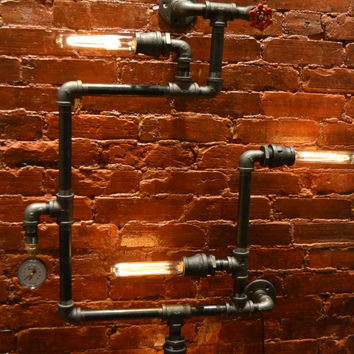 Steampunk Industrial Pipe Wall Light - Wall Light - Industrial Light - Wall Lighting - Bar Light [Edison Bulbs Sold Separately]