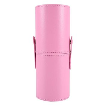 Empty Portable Travel Makeup Brushes Round Pen Holder Cosmetic Case PU Leather Cup Brush Holder Tube Storage Organizer Container