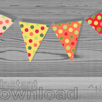 #colorful #polka #dot party #banner, #printable pennant, red, pink, orange, yellow, spring celebration banner DIY, instant download