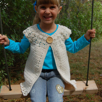 Crochet Pattern: Classic Charm Girls Cardigan, Permission to Sell Finished Items, 8 sizes