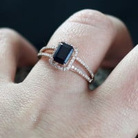 Blue Sapphire Engagement Ring & Diamond Emerald Cut Split shank Band Ilithyia 1.25ct 7x5mm Custom White-Yellow-Rose Gold-10k-14k-18k-Plat