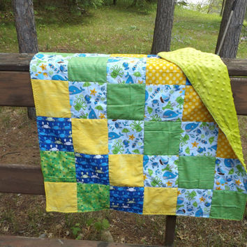 Sale - Handmade Ocean Theme Patchwork Crib Quilt with Green Minky Backer - Modern Crib Quilt