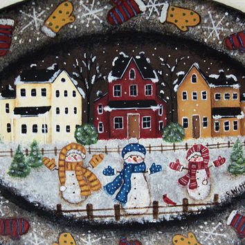 Christmas Folk Art Painting, Primitive Winter Country Scene, Snowmen, Mittens, Saltbox Houses, Snowflakes, Christmas Decor MADE TO ORDER
