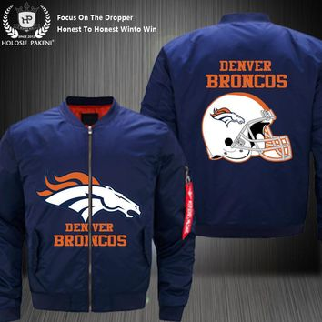 Dropshipping USA Size Men MA-1 Jacket Football Team Denver Broncos Flight Jacket Costume Design Printed Bomber Jacket made