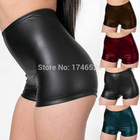New 2016 Hot Sale Womens Faux Leather Tight PU Shorts Euramerican Fashion High Waist Shorts GYM WORK OUT Sports Shorts Women
