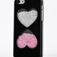 Big Mango Deluxe Bling Colorful Moving Diamond Rhinestone Protective Shell / Hard Back Case Cover for Apple iPhone 5C with Love Heart Design ( At&t, Sprint, Verizon ) - Black