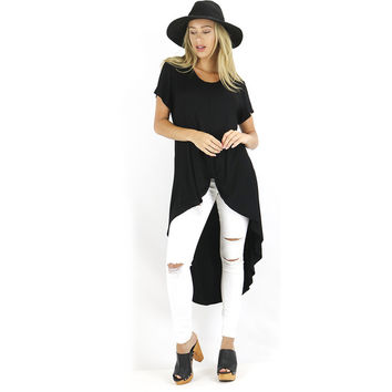 Black Front Twist Hi Low Tunic