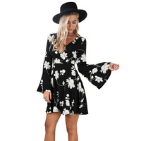 Black Floral Print Skater Dress with Trumpet Sleeves
