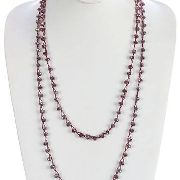Clear Iridescent Glass Bead Extra Long Wraparound Necklace