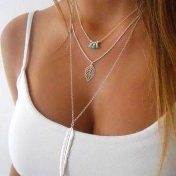 Personality Simple Mode Turquoise Necklaces Long Leaf Pendant Necklace 3 Layer Multilayer Chain Necklace Necklaces & Pendants