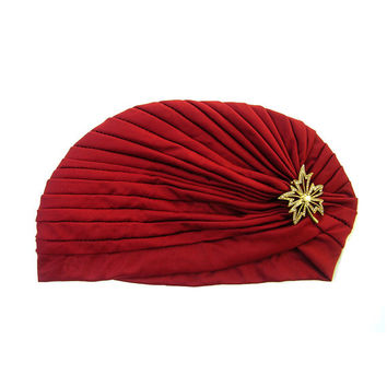 Turban Hat Burgundy Full Turban Head Wrap Ladies Turban Hat 1920s Hair Accessories Great Gatsby Fashion with Retro Style Leaf Jewellery
