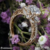 18k Rose Gold Verragio Beaded Shared-Prong 3 Stone Engagement Ring