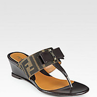 Fendi - Logo-Detail Canvas & Leather Bow Wedge Sandals - Saks Fifth Avenue Mobile