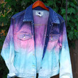 Blue and Pink Ombre denim Jacket