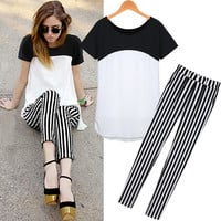 Black And White Short Sleeves Elastic Waist Vertical Stripes Pants