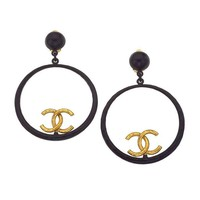 Chanel Large Black and Gold Hoop Earrings