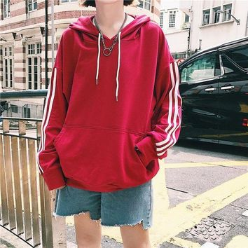 ICIK8H2 Long-Sleeved Striped Hooded Sweater