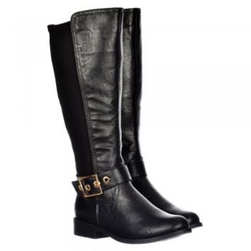 Onlineshoe Extra Wide Calf Knee High Flat Riding Boot - Gold Buckle - Black PU - Onlineshoe from Onlineshoe UK