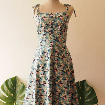 Mia - Flamingo Dress Navy Summer Dress Spaghetti Straps Swing Holiday Long Dress Outdoor Wedding Dress Vintage Sundress Beach Party Dress