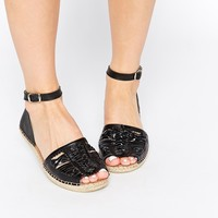 Park Lane Leather Ankle Strap Flat Sandals