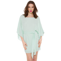 Mint Green Chiffon Batwing Elastic Waist Mini Dress