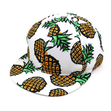 Hat Pineapple Pattern Snapback Hip Hop Cap Black/White/Pink Caps Hats
