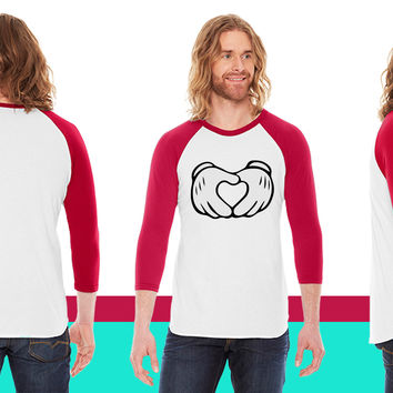 Mickey Mouse Hands Heart American Apparel Unisex 3/4 Sleeve T-Shirt
