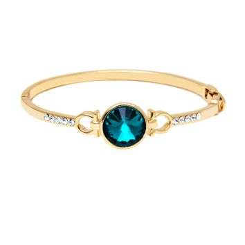 Peermont Gold And Emerald Crystal Round Stone Bangle | Bluefly