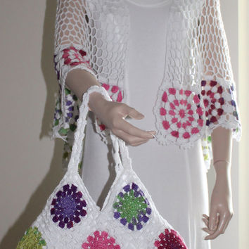 Hand Crochet Women Bag / Spring Colors with Bag / Ready to Shipping