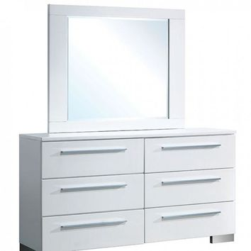 Clementine Contemporary Style Dresser With 6 Drawers, White