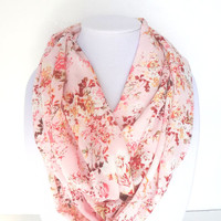 Floral Scarf, Pink Infinity Scarf, Floral Infinity Scarf, Pink Women's Scarf, Summer Scarf