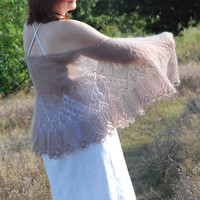 Wedding Shawl, Wedding Lace Shawl, Bridal Shawl, Hand Knit Shawl in Pinky Brown, Almond