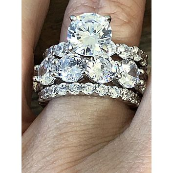 The Queen Collection, 10.68TCW Russian Lab Diamond Stacking Rings