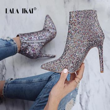LALA IKAI Bling Sequined Zipper Pointed Boots Women High Heeled 10CM Winter Shoes Casual Fashion Ladies Ankle Boots 014N1824 -4