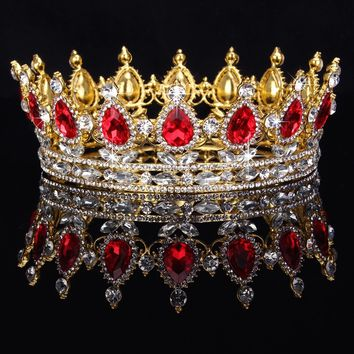 Unisex Ruby Red Sparkling Crystal Gold King Crown - Free Shipping