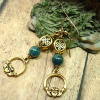 Blue Green Apatite Gemstone Gold Irish Claddagh Eternity Knot Earrings