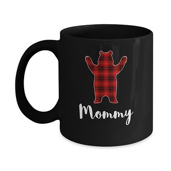 Red Mommy Bear Buffalo Plaid Family Christmas Pajamas Mug