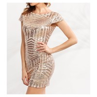 Rose Gold Cap Sleeve Backless Geometric Bodycon Dress