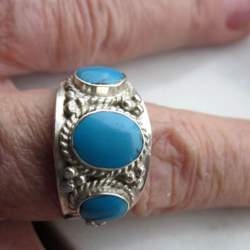 CLEARANCE sterling genuine turquoise ring 10 1/2 vintage handcrafted Native Navajo crafted turquoise jewelry solid silver 925 hallmarked